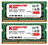 Komputerbay 16GB Dual Channel Kit 2x 8GB 204pin 1.35v DDR3-1600 SO-DIMM 1600/12800S ( 1600MHz, CL11 ) for MAC and PC