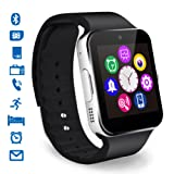 CHEREEKI Smartwatch Bluetooth Smart Watch Reloj Inteligente Teléfono Inteligente Pulsera con Cámara Pantalla Táctil Soporte SIM / TF para Android Samsung HTC LG Huawei Sony Reloj Deportivo (Negro)