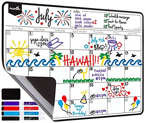 Magnetic Dry Erase Calendar Sheet for Fridge: with Stain Resistant Technology - Includes 4 Fine Tip Markers and Large Eraser with Magnets -17x12