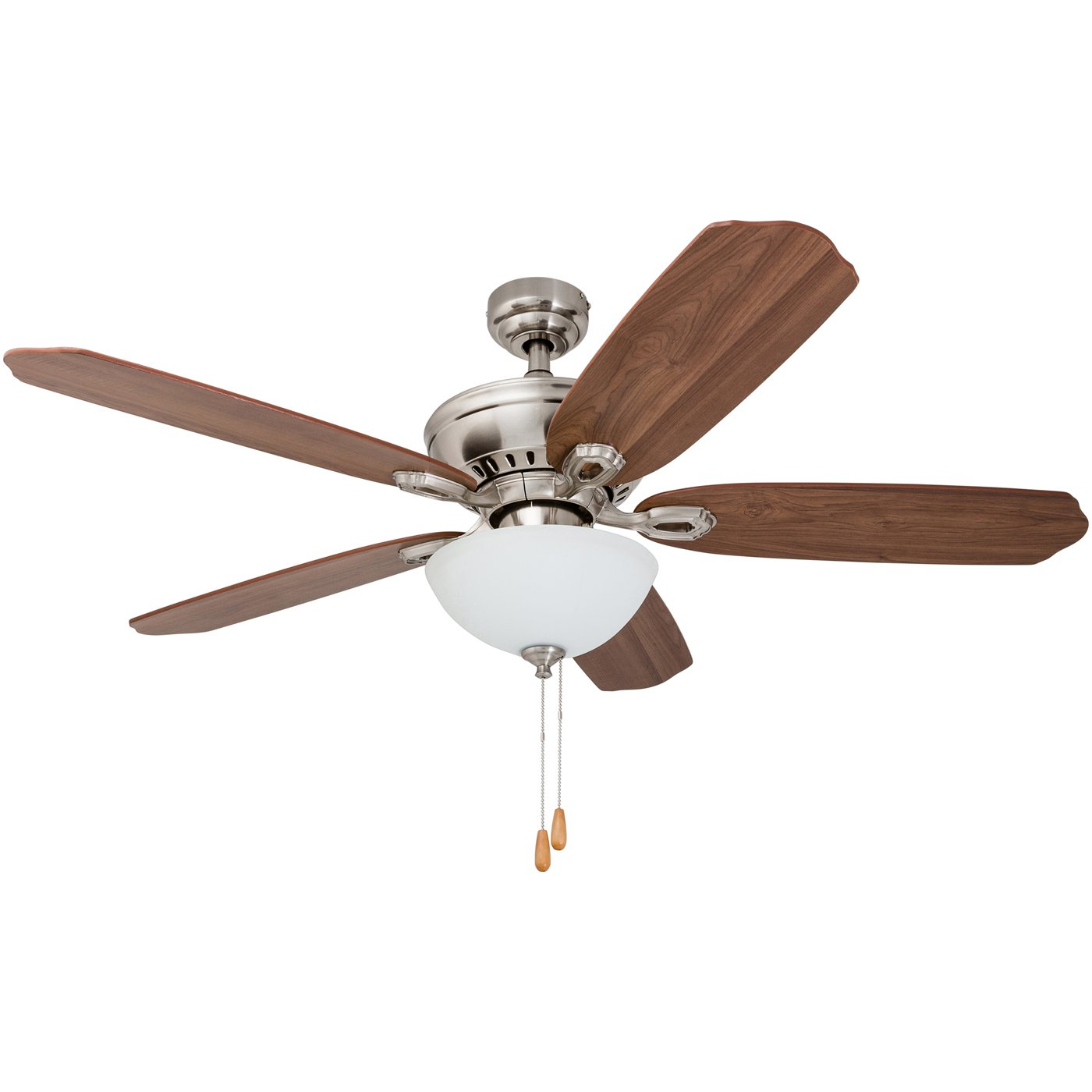 Prominence Home 50333-01 Spring Hollow Ceiling Fan, 52 inches, Reversible Fan Blades, Brushed Nickel