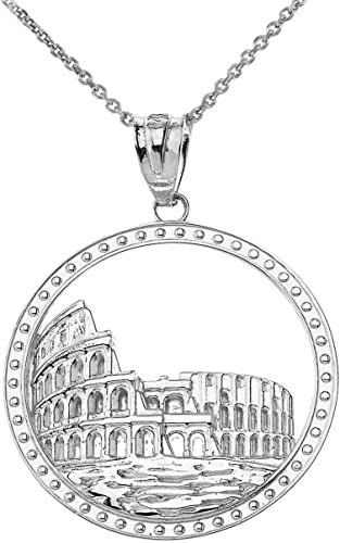 "Sterling Silver ROME COLISEUM Pendant Made in USA,18/"" Italian Box Chain Charm"
