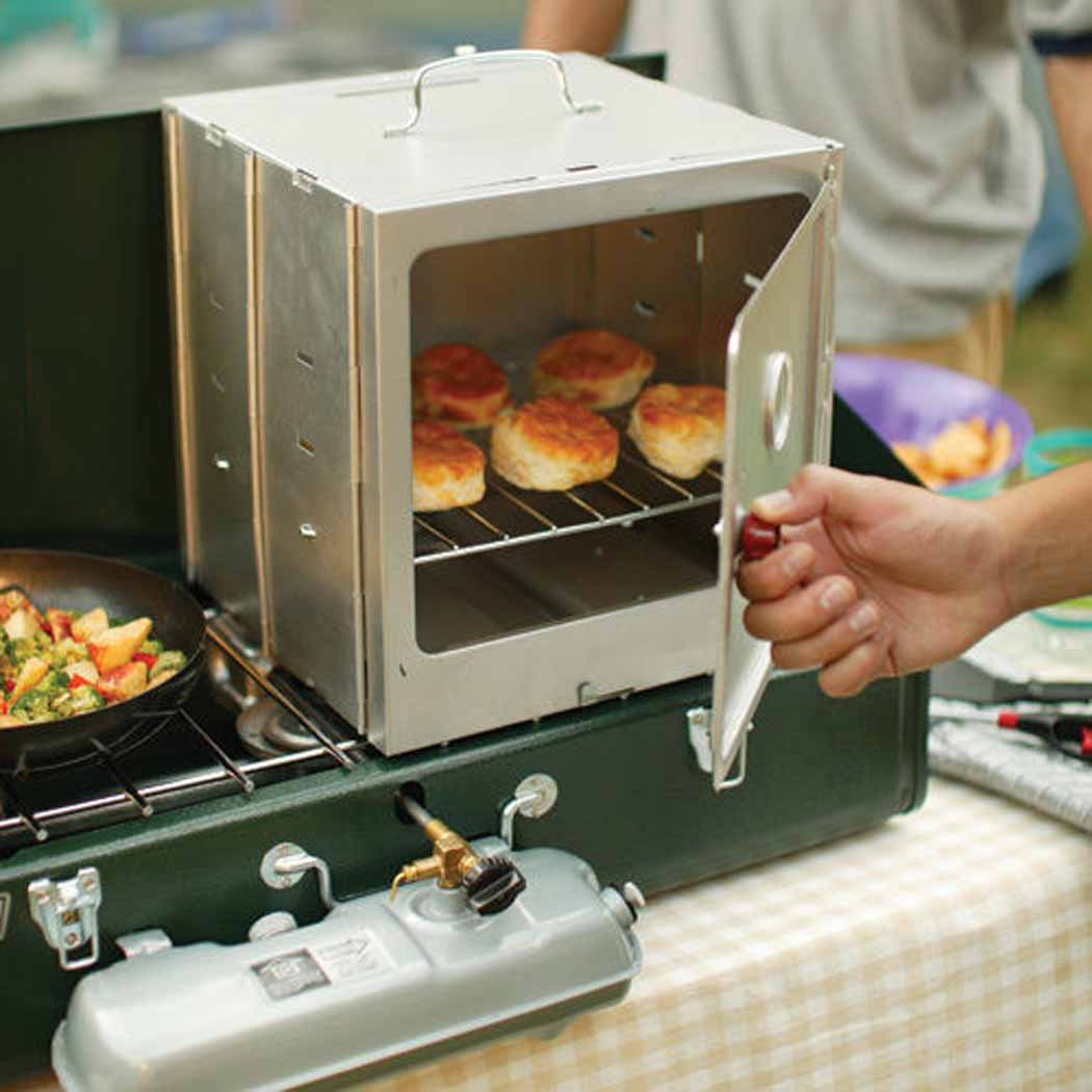 COLEMAN Portable Camping Oven Kitchen Enclosed w/ Adjustable Rack Make Muffins Camp Hiking Trip