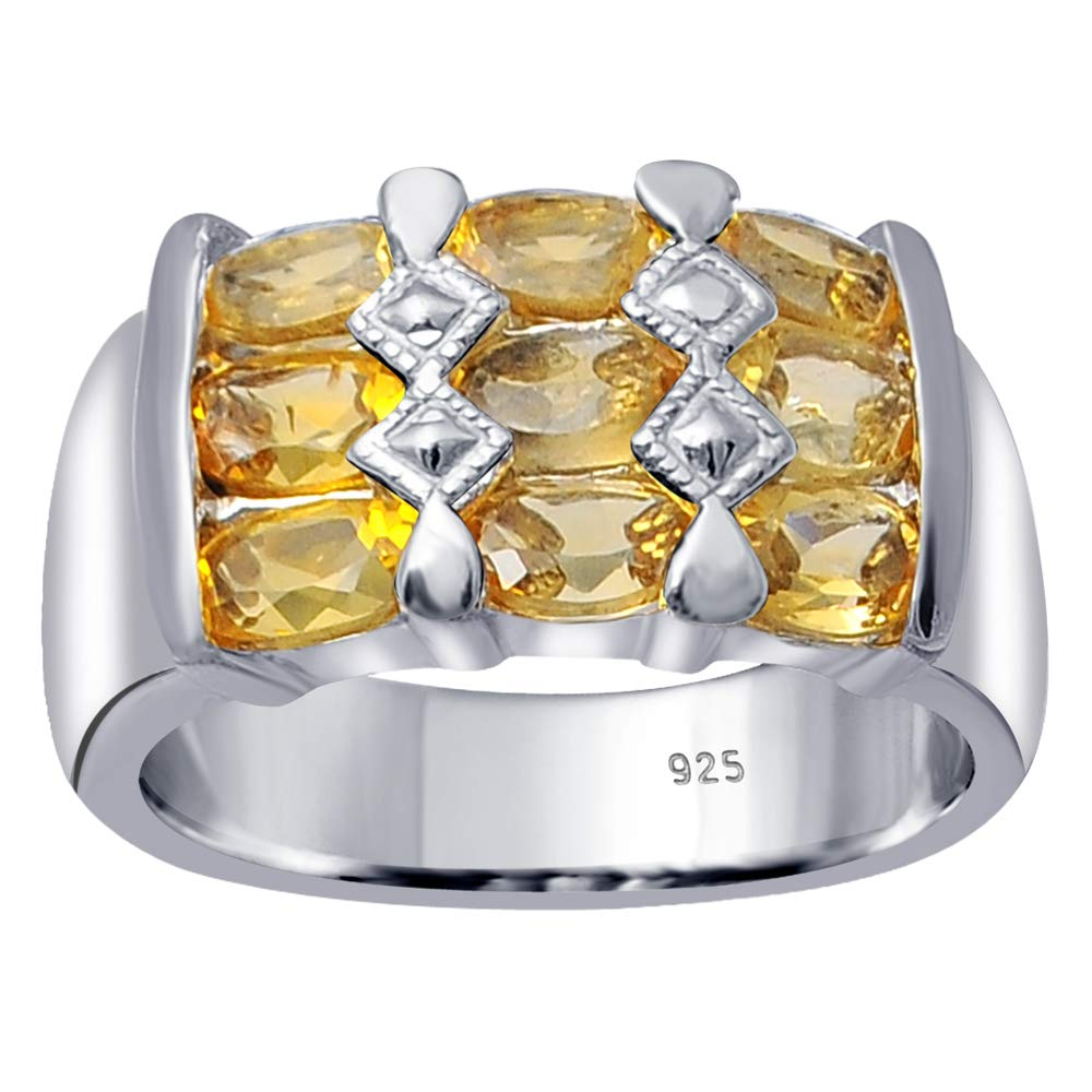 Orchid Jewelry 925 Sterling Silver Citrine Cocktail Unisex Ring, (Size 7)