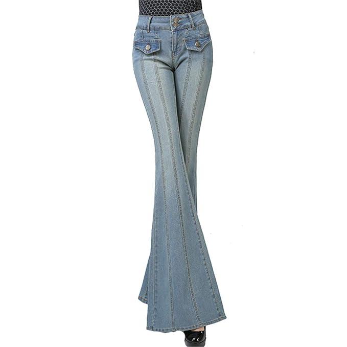 Pantalones Vaqueros de Pierna Ancha para Mujer Pantalones ...