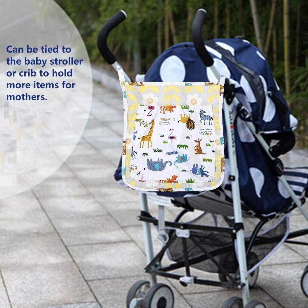 Baby Crib Hanging Organizer Rectangular Nursery Storage Cute Cotton Toddler Stroller Nursery and Diaper Storage Bag Decor for Bed