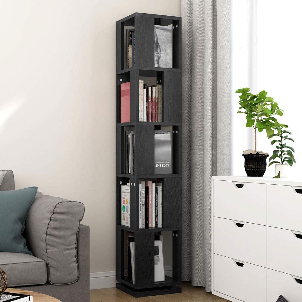 Tribesigns 5-Tier Rotating Bookshelf, Modern Corner Bookcase for Home Office Black