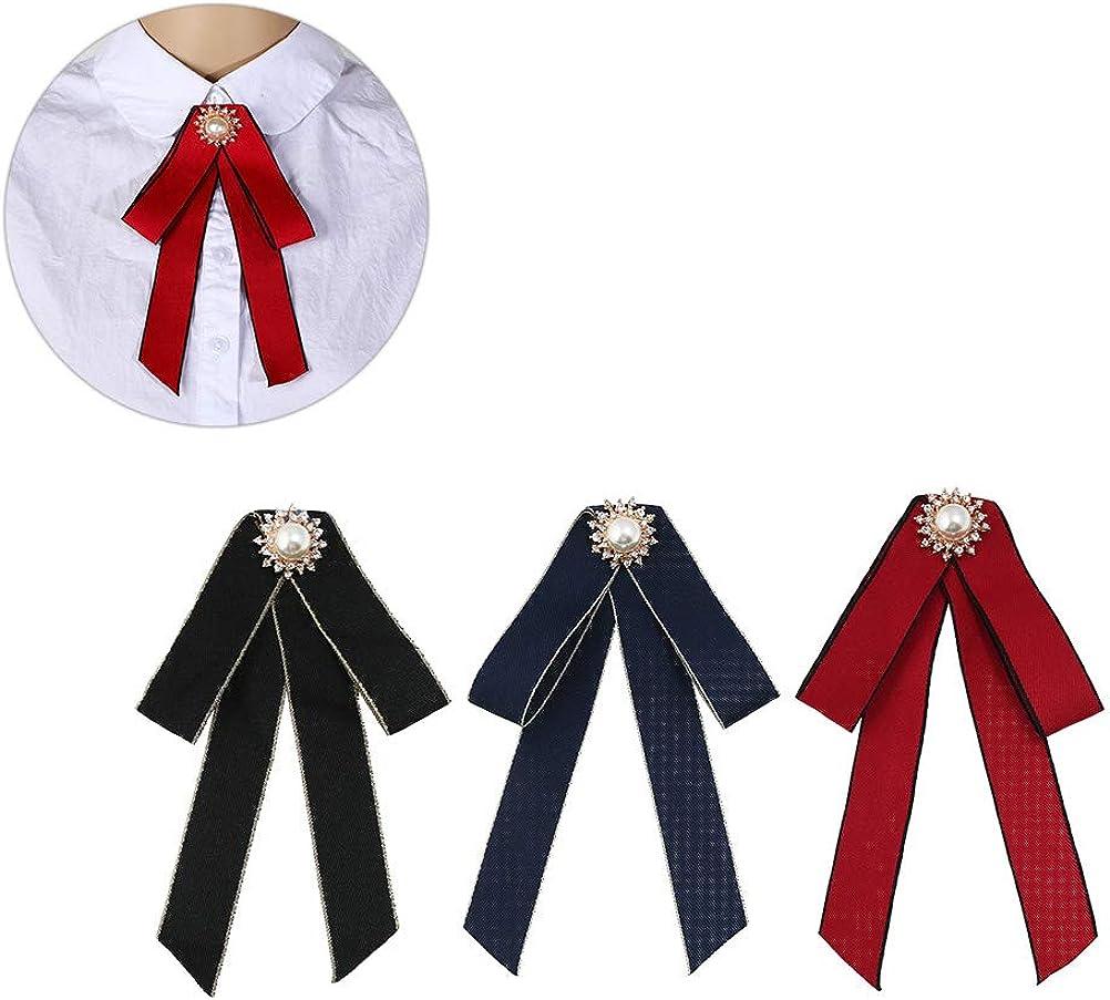 TENDYCOCO 3 pcs Personnalit/é Exag/ér/ée D/élicate Longue Noeud Papillon Ruban Cravate Broche pour Femmes Couleur Mixte