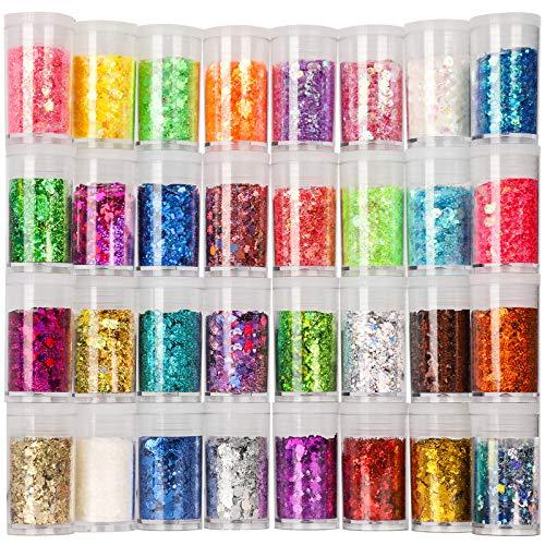 Festival Chunky and Fine Glitter Mix, Teenitor 32 Colors Chunky Sequins & Fine Glitter Powder Mix, Iridescent Glitter…