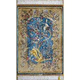 YLL 2'x3' Blue Oriental Traditional Qum Persian Area Rug Handmade Silk Rug Tapestry