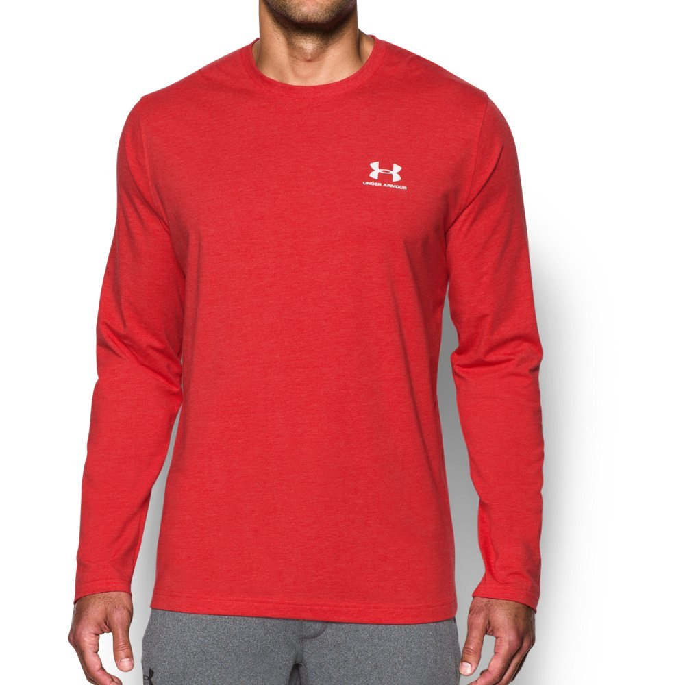 Under Armour Men's Chest Logo Long Sleeve T-Shirt, Red Medium Heather /White, Small