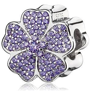 ATHENAIE 925 Sterling Silver PlatedPlatinumwithPavePurpleCZ Primrose Charm Beads