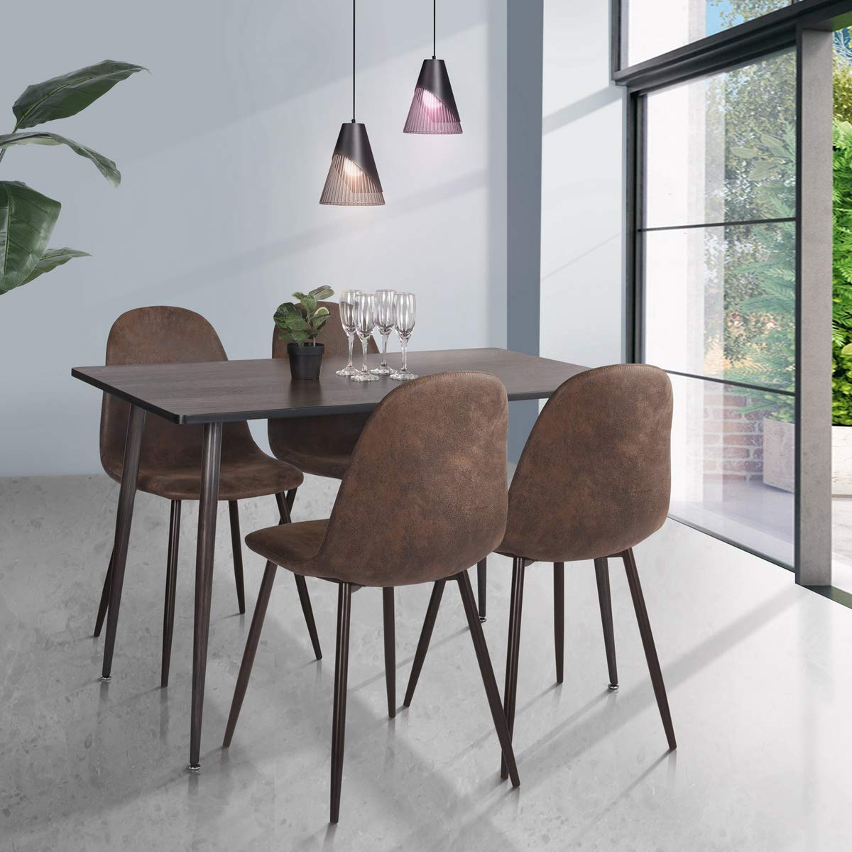 HOMY CASA Farmhouse Rectangle Dining Table, Mid-Century Wooden Top Kitchen Dining Table with Metal Tube for Home, Office, Patio(Only Table not Include Chairs) by HOMY CASA