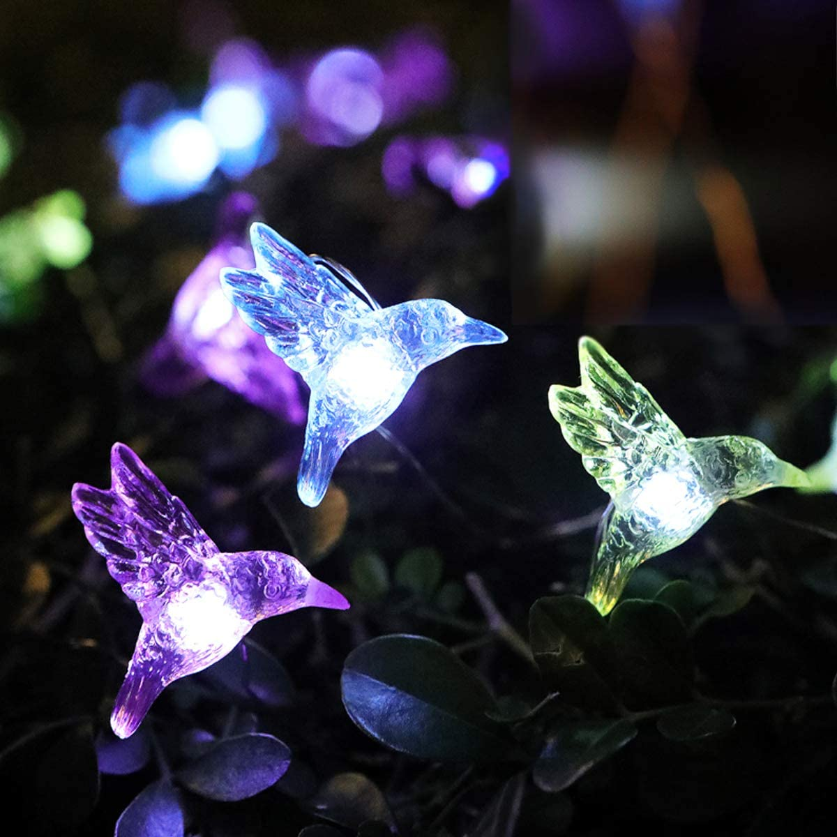 WSgift Solar Hummingbird String Lights, 15.8 Ft 30 Warm White LED Outdoor Waterproof Bird Fairy String Lights for Garden Yard Outdoor Decorations
