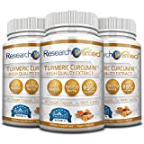 Research Verified Turmeric Curcumin - Vegan with BioPerine, 95% Standardized Curcuminoids - Natural Anti-Inflammatory, Antioxidant, Pain Relief and Antidepressant - 3 Bottles (3 Months Supply)