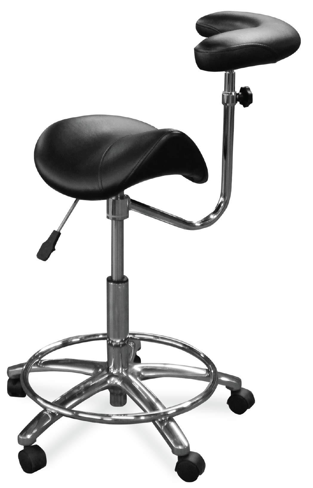 Dentists Unite 4025-17 Dental Assistant Saddle Stool with Body Arm, Bone