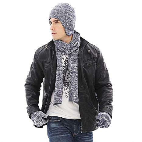6cef078e9 K-mover Beanie Hat Scarf Touch Screen Gloves + Hat + Scarf, Unisex 3 ...