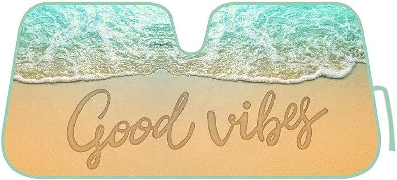 New Good Beach Vibes Car Truck Windshield Folding Sun Shade Large Size