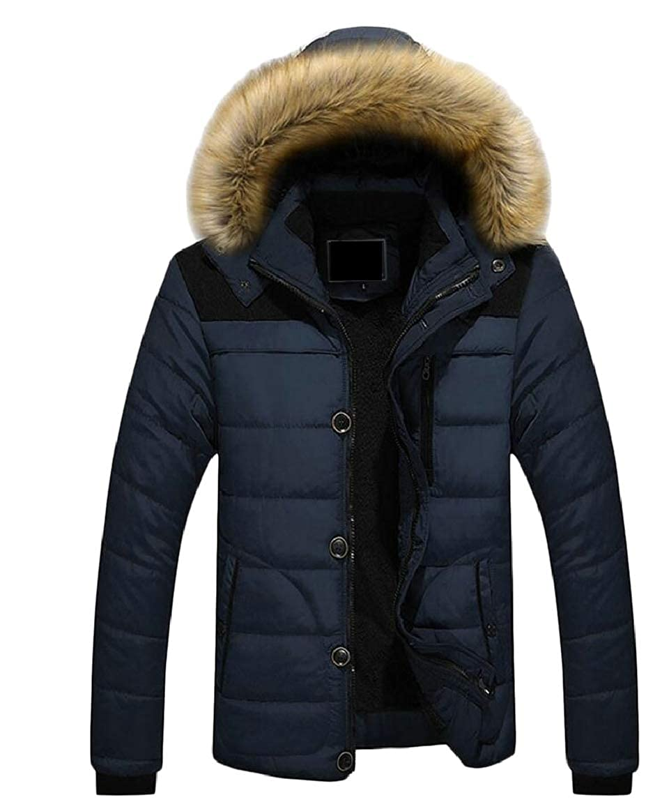 Ptyhk RG Mens Warm Faux Fur Removable Hooded Casual Down Jacket Puffer Outwear