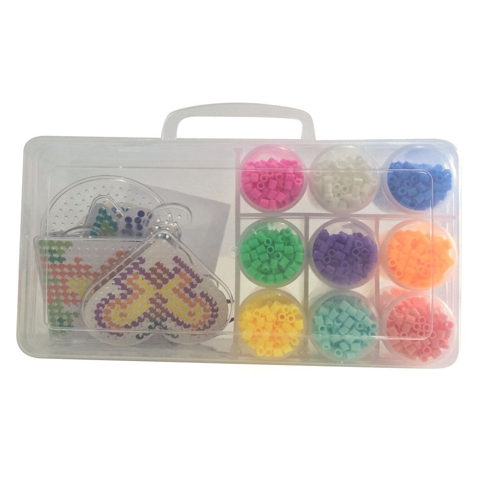 Giftpocket DIY Beads and Pegboards Pack 5mm With 2400 per Pack 6 Fuse Bead Boards 2 Tweezer 12 colors ironing paper included for Christmas Gift
