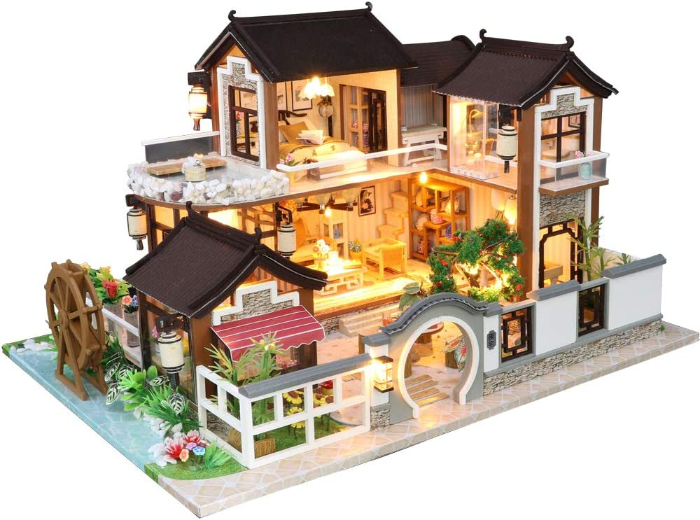 Fsolis DIY Dollhouse Miniature Kit with Furniture, 3D Wooden Miniature House with Dust Cover and Music Movement, Miniature Dolls House kit (13848)