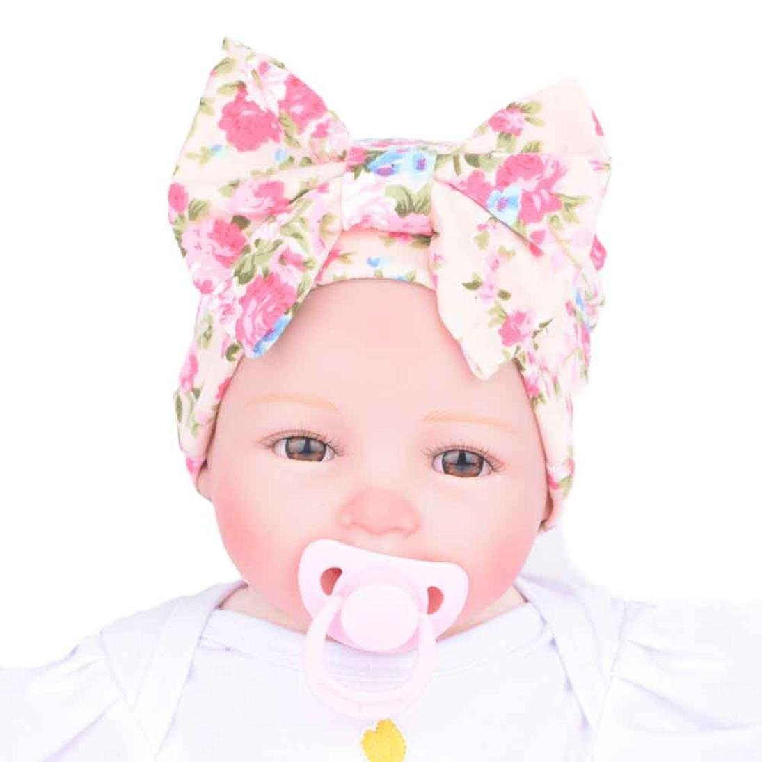 Kanpola Women Newborn Hospital Hat Newborn Baby Hats with Flower Bowknot Flower Hat Beige