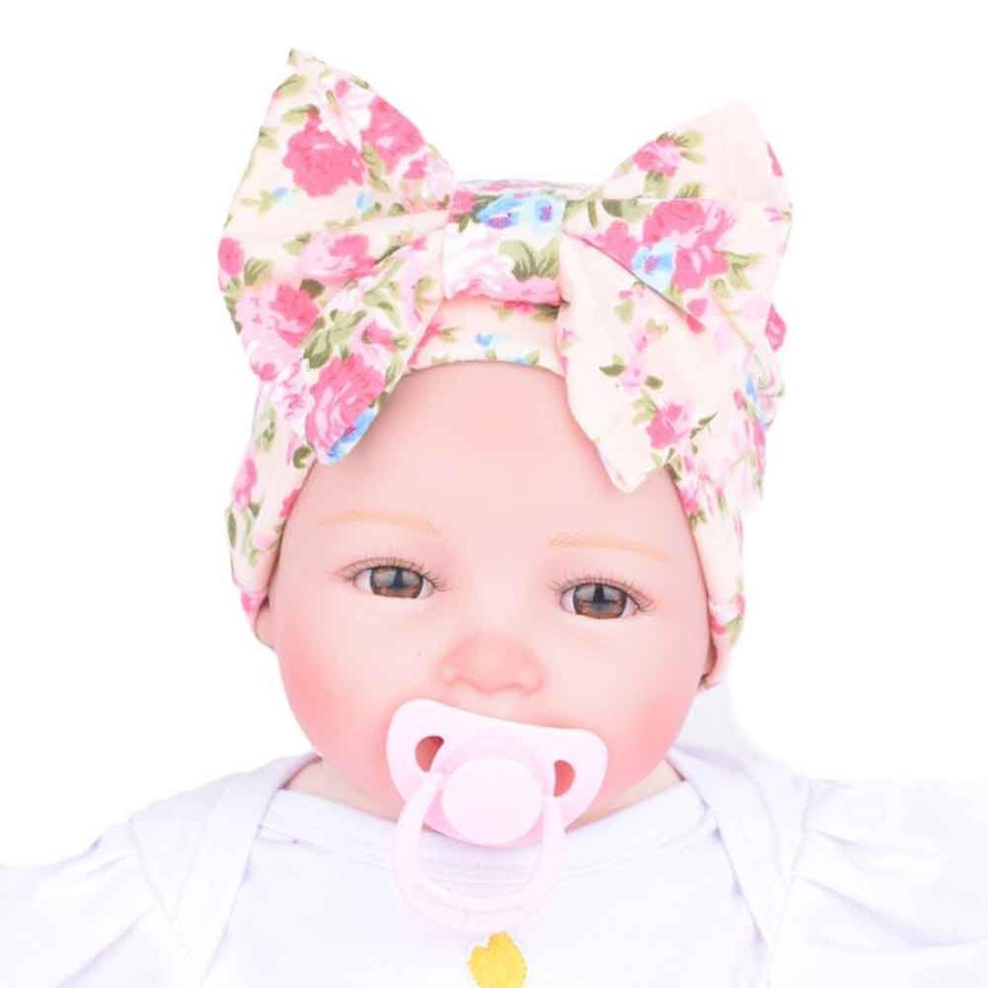 Kanpola Women Newborn Hospital Hat Newborn Baby Hats with Flower Bowknot Flower Hat Beige