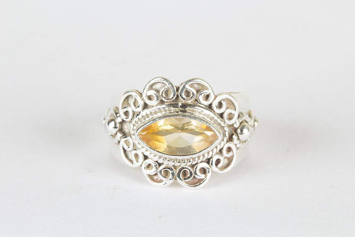 Citrine Gemstone Ring Yellow Stone Marquise Ring Vintage Design