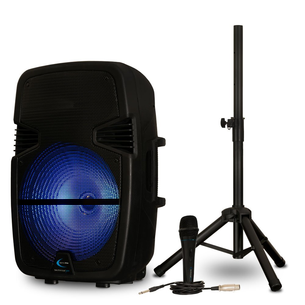 Technical Pro PB15PKG Bluetooth 15'' Powered LED Speaker with Battery Mic and Stand