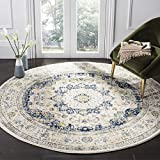 Safavieh Evoke Collection EVK220C-5R Ivory and Blue Vintage Round Area Rug, 5-Feet 1-Inch in Diameter