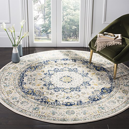 Safavieh Evoke Collection EVK220C Vintage Oriental Ivory and Blue Round Area Rug (6'7