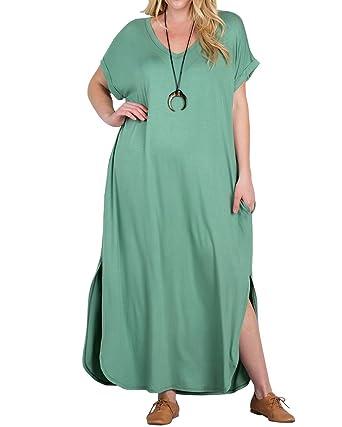 da8caa76f9b Womens Plus Size Maxi Dresses T-Shirt V Neck Short Sleeve Split Casual  Summer Flowy
