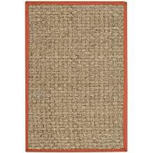 Safavieh Natural Fiber Collection NF114Y Basketweave Natural and Rust Seagrass Area Rug (2' x 3')