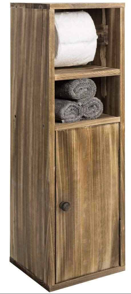 MyGift Rustic Burnt Wood Freestanding Toilet Paper Holder with Storage Shelf & Cabinet by MyGift