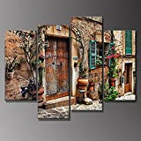 4 Panels Vintage Streets Of Old Mediterranean Towns Flower Wood Door Windows Retro Wall Picture Prints Wood Framed Hanging Artwork by uLinked Art