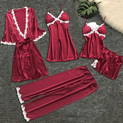 Alalaso 5PC Set Sleepwear for Women Sexy Lace Lingerie Nightwear Underwear Babydoll Shorts Tops by Alalaso sleepwear (Image #2)