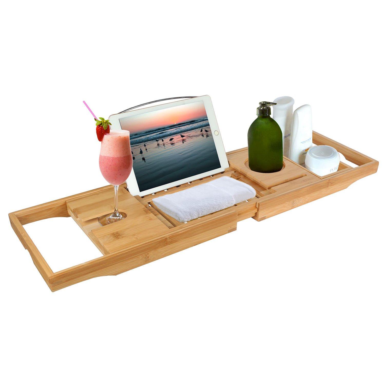 Moon Daughter Bamboo Bathtub Tray Bath Caddy Adjustable Wood Handle Dining Wine Cup Rack Table