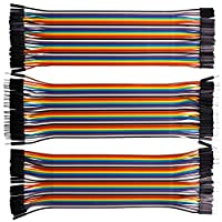 kuman 120pcs Breadboard Jumper Wires for Arduino Raspberry Pi 3 40pin Male to Female, 40pin Male to Male, 40pin Female to Female Ribbon Cables Kit Multicolored Pack K45