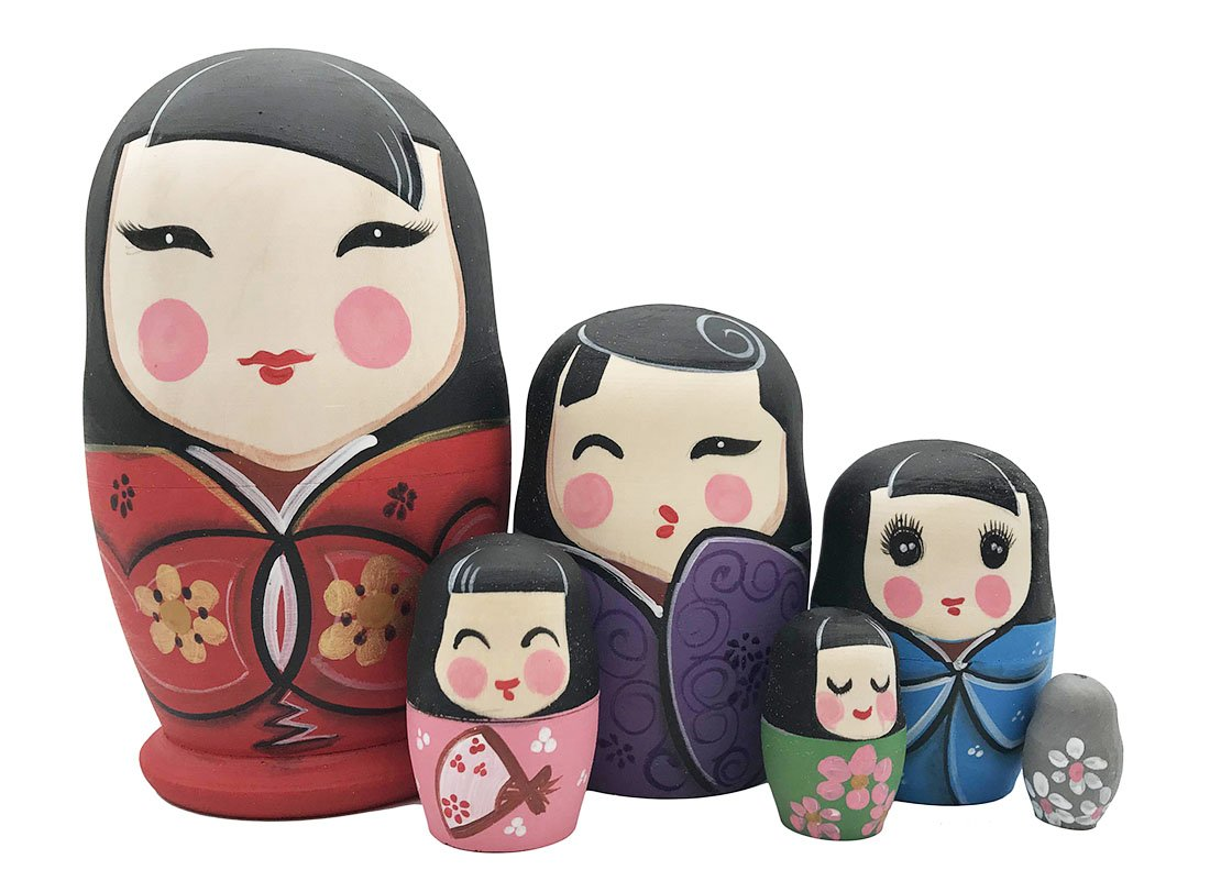 Arsdoll Set of 6 Colorful Elegant Japanese Girls In Kimono Nesting Doll Matryoshka Russian Doll Handmade Stacking Toy Kids Girl Gifts
