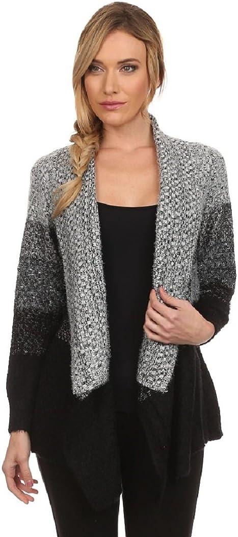 Waterfall Collar Womens Open Front Fuzzy Dip Dye Stripe Chunky Knit Cardigan Sweater
