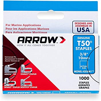 Arrow Fastener 506M1 Genuine T50 Monel Rustproof 3//8-Inch Staples 1,000-Pack