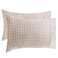BuGu Pillowcase Cover for Pillow (Brown Plaid, Standard/Queen(20