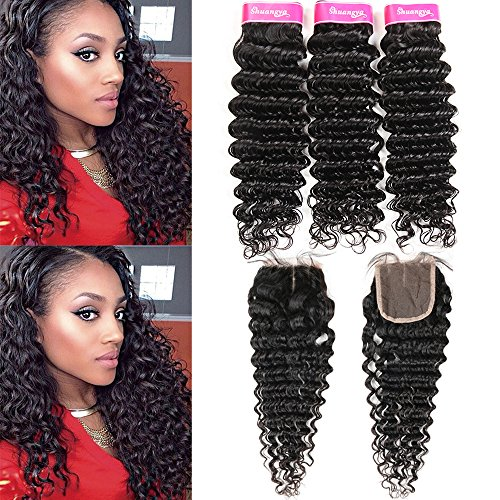 Deep Wave Human Hair 3 Bundles With 4x4 Lace Closure Middle Part (14 16 18+12) 100% Unprocessed Virgin Human Hair Extensions Deep Wave With Closure Can be Dyed shuangya hair  (Best Virgin Human Hair Extensions)