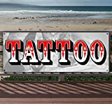 TATTOO 13 oz heavy duty vinyl banner sign with metal grommets, new, store, advertising, flag, (many sizes available)