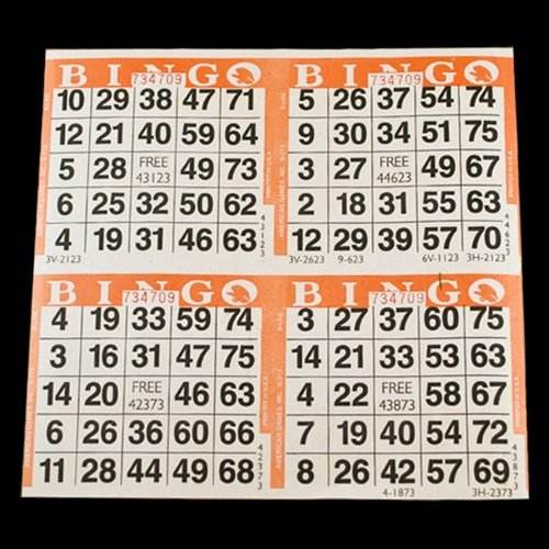 4 on Orange Bingo Paper Cards - 750 sheets - 3000 cards SmallToys