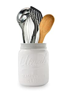 Comfify Wide Mouth Mason Jar Utensil Holder Decorative Kitchenware Organizer Crock, Chip Resistant Ceramic - Perfect Cookware Gift - White, Large Size