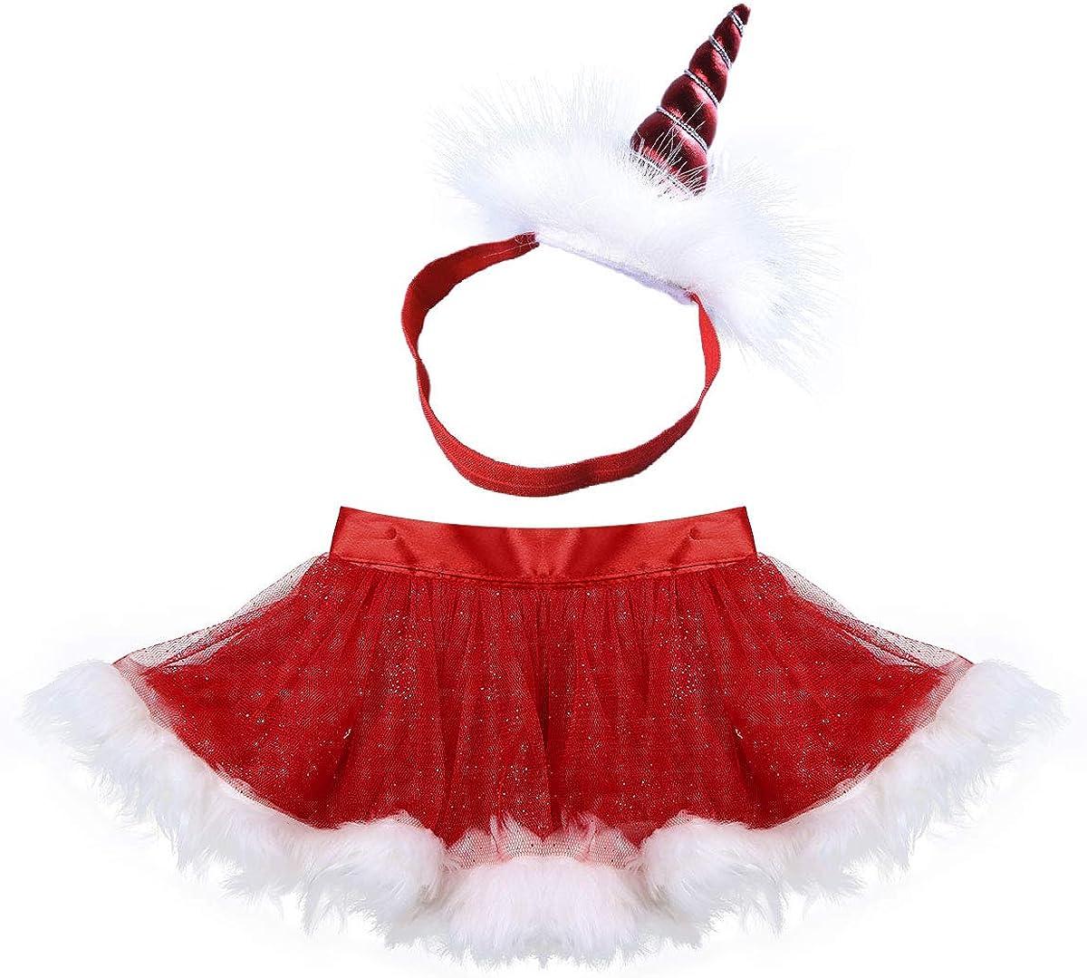 dPois Falda Navidad Niña Bebé Tutú Volante + Diadema Unicornio ...
