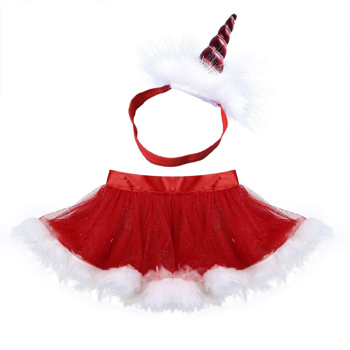 iiniim Falda Unicornio Navidad Ni/ña Beb/é Tut/ú Volante Diadema Princesa Conjunto Traje Infantil Vestido Rojo Disfraz de Fiesta Ceremonia Cumplea/ños Foto para Recien Nacido