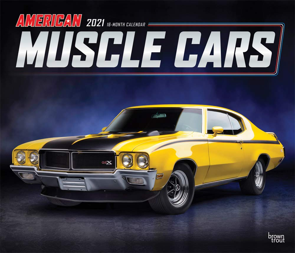 American Muscle Cars 2021 12 x 14 Inch Monthly Deluxe Wall Calendar with Foil Stamped Cover, Racing Ford Chevrolet Chrysler Oldsmobile Pontiac
