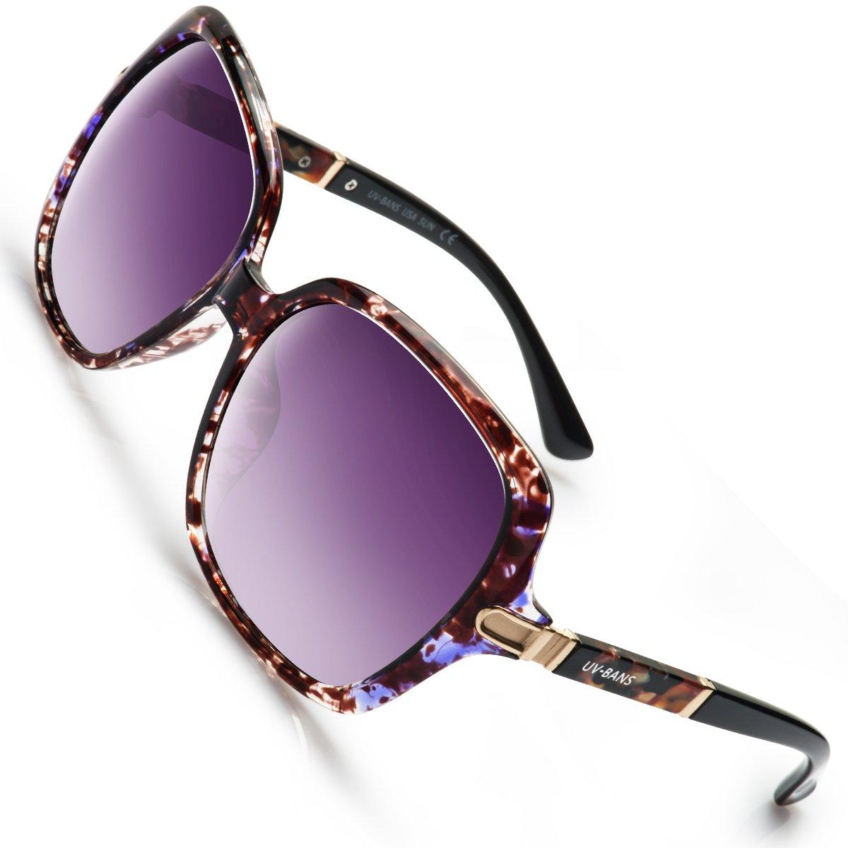 UV-BANS Women Oversized Street Fashion Designer Sunglasses Polarized UV400 Lens Holiday Gifts for Her (C-Purple Tortoiseshell Frame)