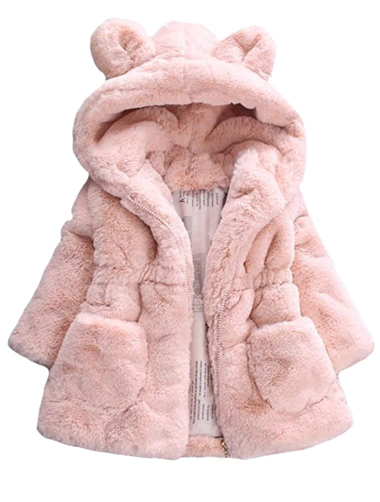 Mallimoda Girls Winter Warm Ear Hooded Faux Fur Fleece Jacket Coats CA-MaXT142
